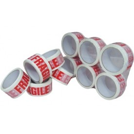 50 mm Red & White Fragile Tape