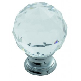 Lead Crystal Clear Faceted Knob