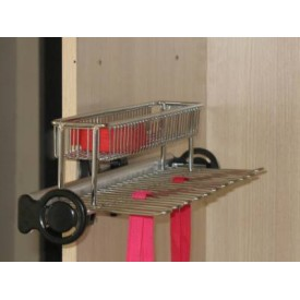 Pull - Out Tie & Belt Rack with Basket